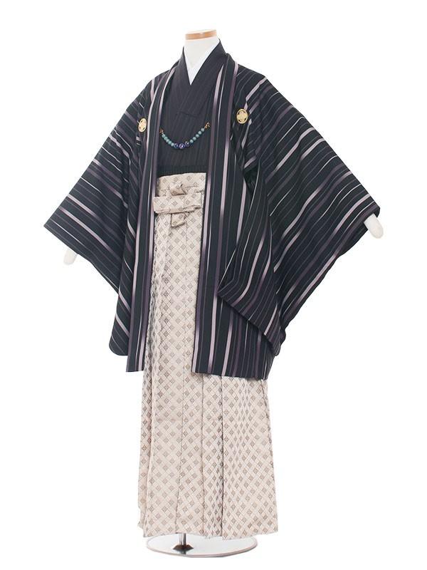 小学生卒業式袴男児1320 紫ストライプ/袴