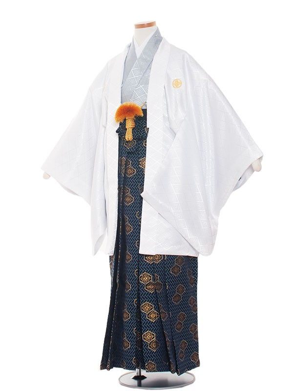 小学生卒業式袴男児1337 白×アイスグレー/袴