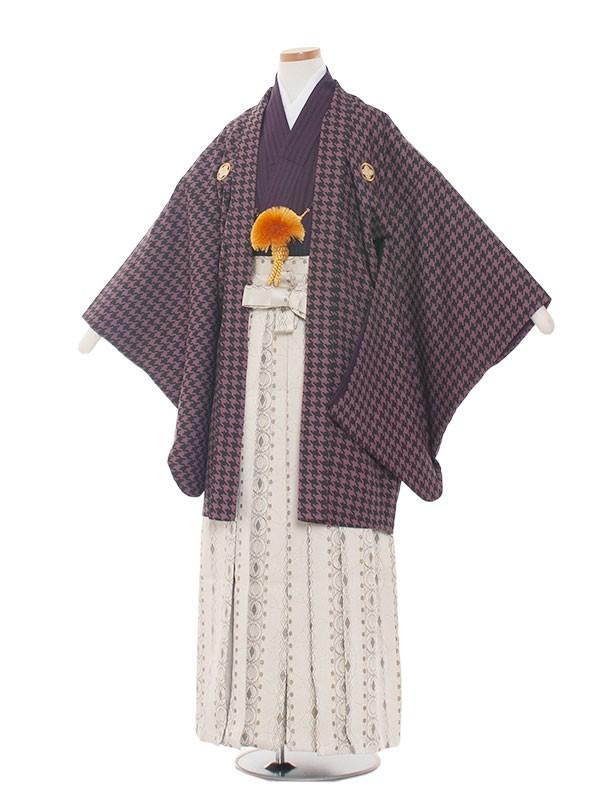 小学生卒業式袴男児1316 パ-プル格子/袴
