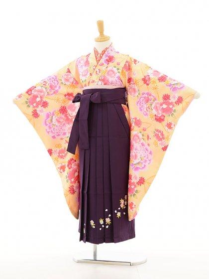 ジュニア着物(女の子袴)0759黄色花模様×紫刺