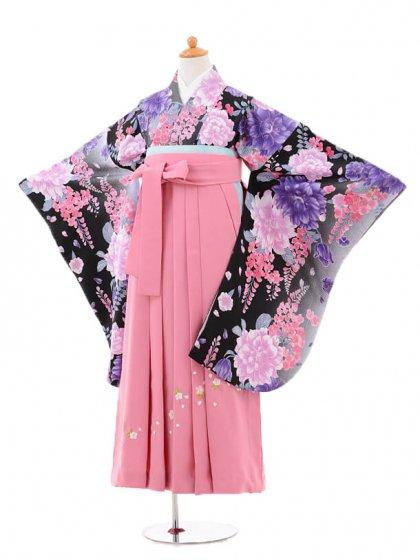 小学生卒業式袴女児jh0960黒ぼたんと藤×袴