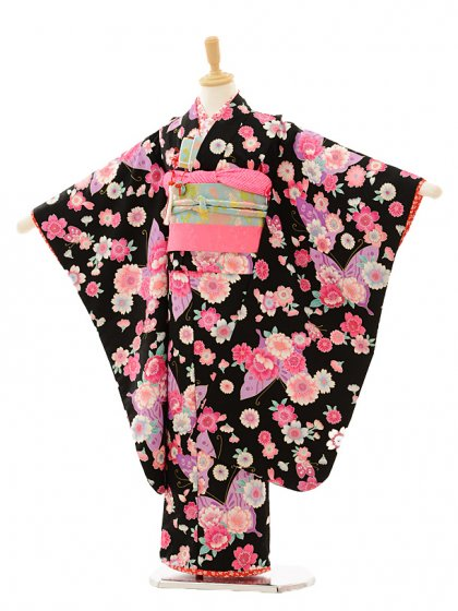 七五三(7歳女結び帯)7240 黒地 花と蝶