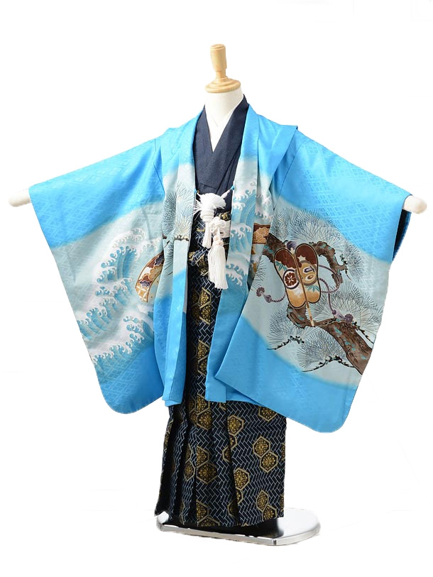 753レンタル(5歳男の子袴)0526ブルー兜