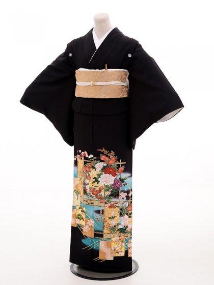 黒留袖レンタル4362寛斎欄間百花絵図