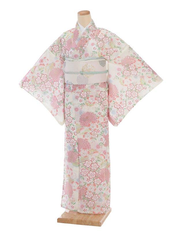 夏小紋レンタル0075白地薄ピンク花(化繊 絽 夏)