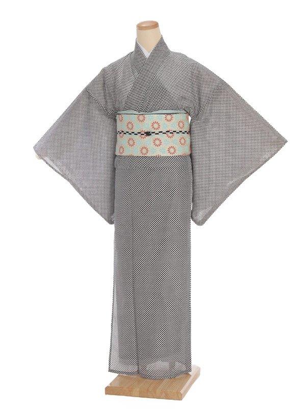 夏小紋レンタル0064白黒市松模様(化繊 絽 夏)