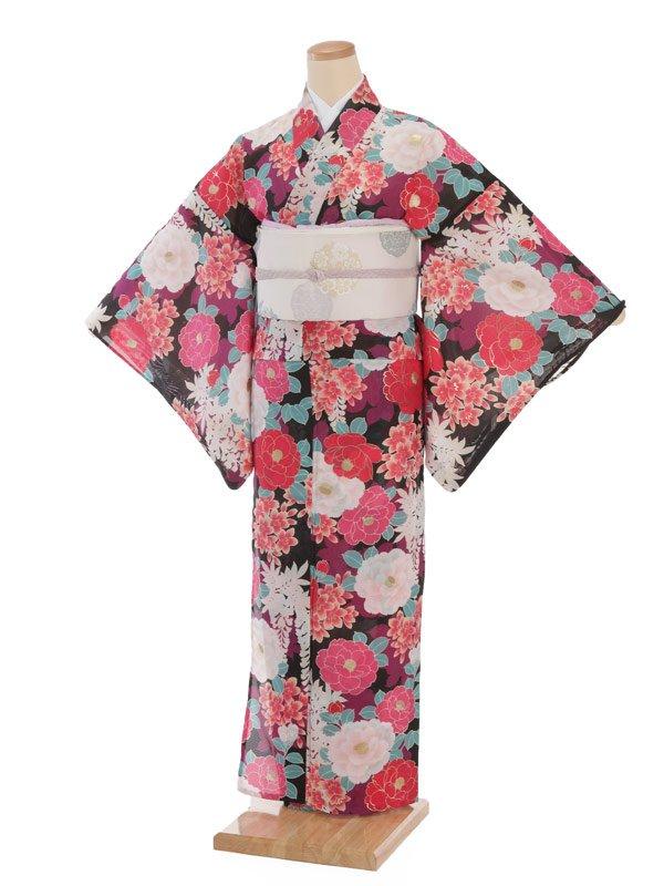 夏小紋レンタル0080黒地ピンク八重椿(化繊 絽 夏)