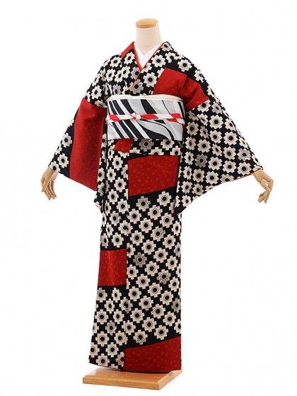 小紋555(化繊) モダンアンテナ ヒッタ(かのこ)赤