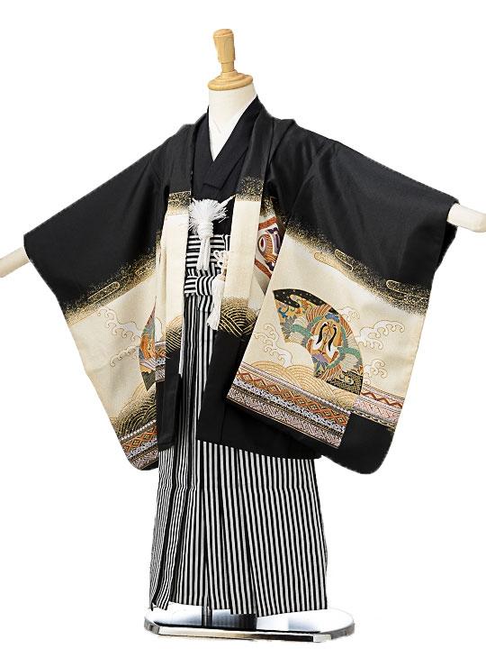 七五三(5歳男袴)sftm171黒地兜/黒仙台縦縞