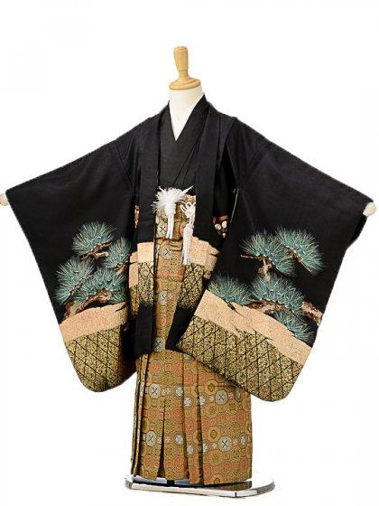 七五三(5歳男袴)sftm187黒地タカ城/蜀江紋