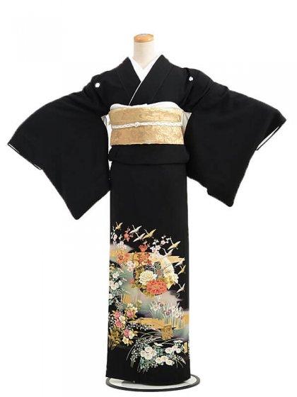 黒留袖Q5-62グリーンに鶴四季花