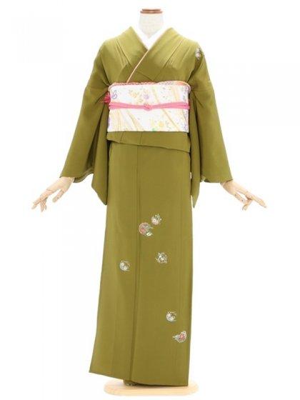 付下げ(単衣)50わらび色 小花刺繍