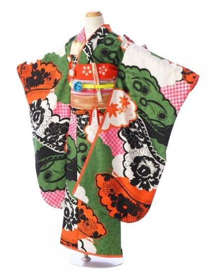 七五三(7歳女)7928 モダンアンテナ 緑×オレンジ