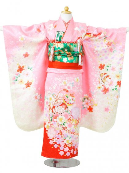 753七五三(7歳女)7827ピンク地 桜に鈴と鞠