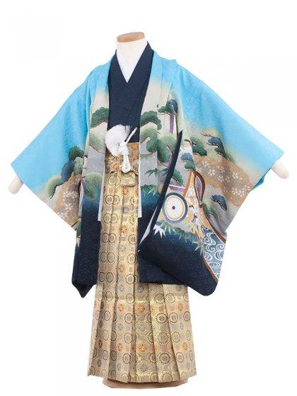 七五三(5男)5147-2 水色/兜に丸紋60cm