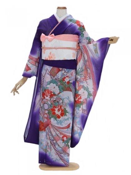 振袖(絽)12紫ぼかしにのし〆 つつみ染め