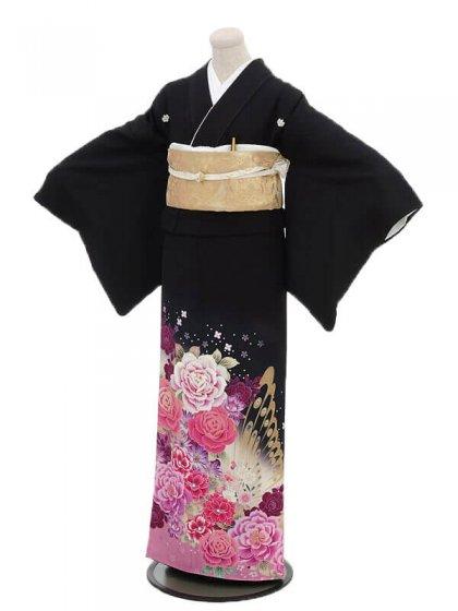 黒留袖2092ピンク牡丹に蝶