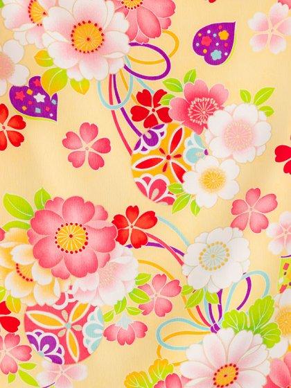 753七五三(7歳女)7004イエロー地 桜 くす