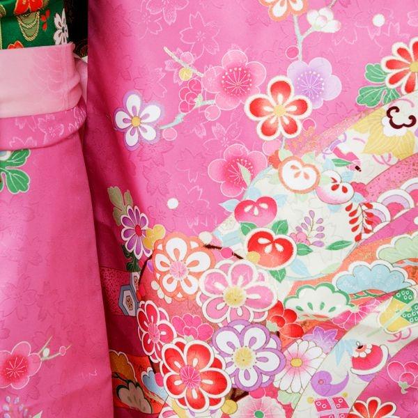 753七五三(7歳女)7870紫地 桜地紋 花輪に