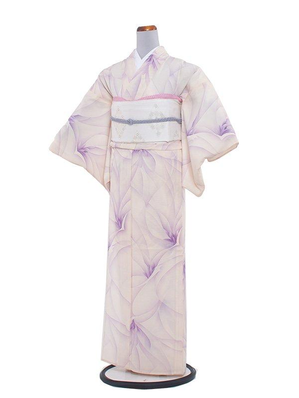 夏小紋 絽 108 クリーム/紫洋花