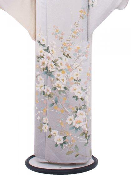 正絹単衣 96 アイスブルー/小花
