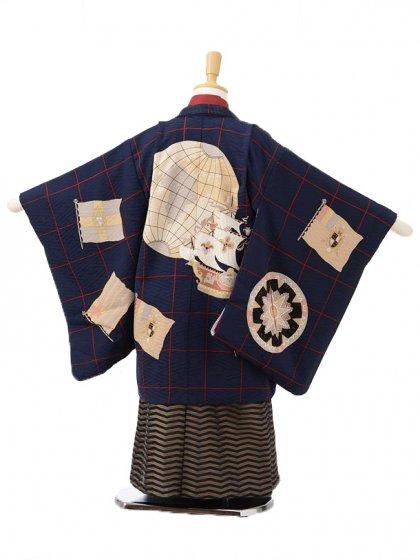 753レンタル(5歳男袴)05112モダンアンテナ紺×黄