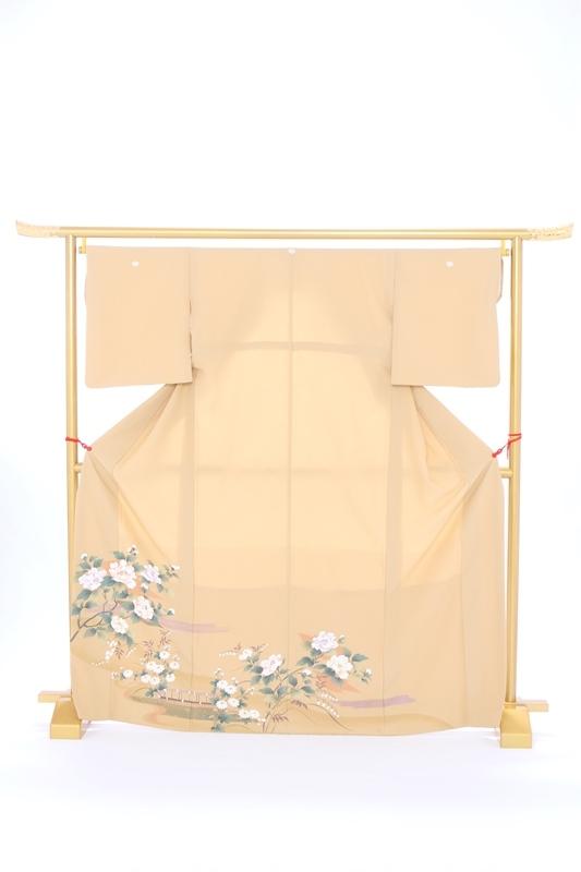 色留袖80ベージュ牡丹と小花