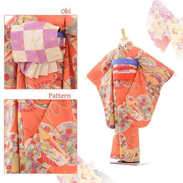 七五三(7歳袋帯・羽織)7229アンティーク着物サーモンピ