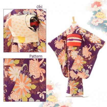 七五三(7歳袋帯・羽織)7220アンティーク着物紫乱菊