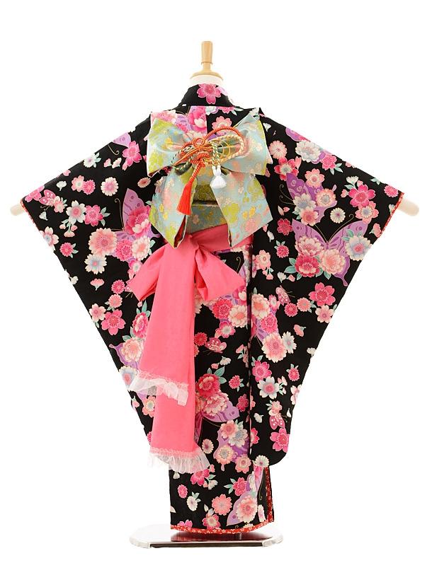 七五三レンタル(7歳女の子結び帯)7240 黒地 花と蝶