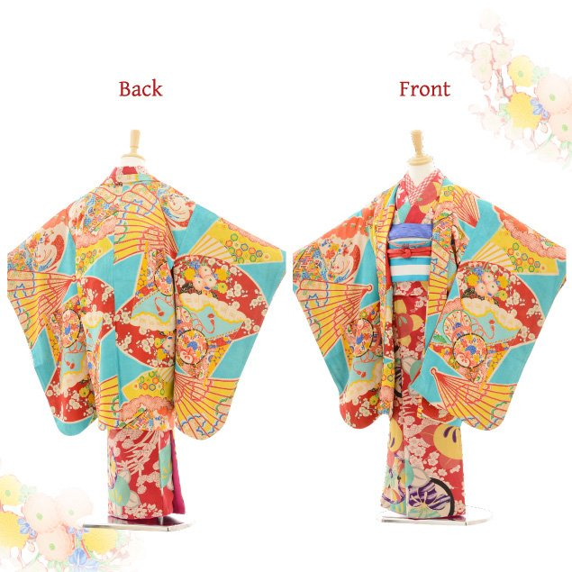 七五三(7歳袋帯・羽織)7217アンティーク着物赤橘×