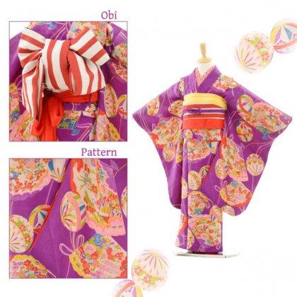 七五三(7歳袋帯)7204アンティーク着物紫まり
