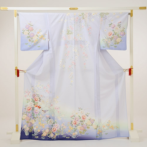 夏訪問着t0085 JAPAN STYLE 薄紫地花(化繊