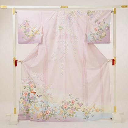夏訪問着t0088 JAPAN STYLE ピンク紫ぼかし花