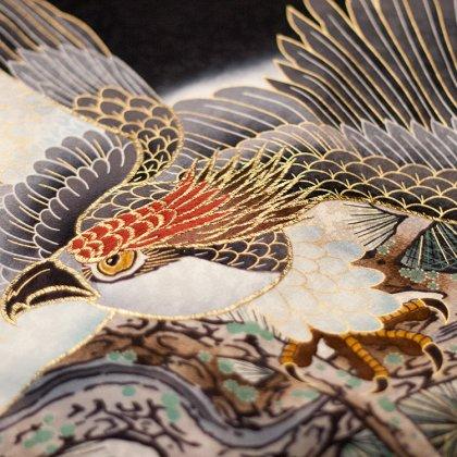 お宮参り男児2073 黒地/鷹と寿