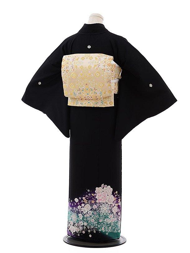 黒留袖レンタル5305バラ銀