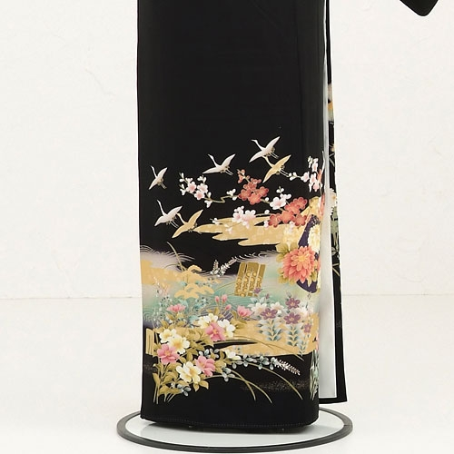 黒留袖レンタルQ5-62グリーンに鶴四季花