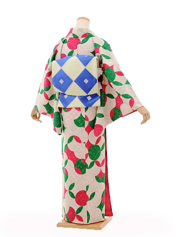 小紋605(化繊)モダンアンテナ ピンク緑七宝