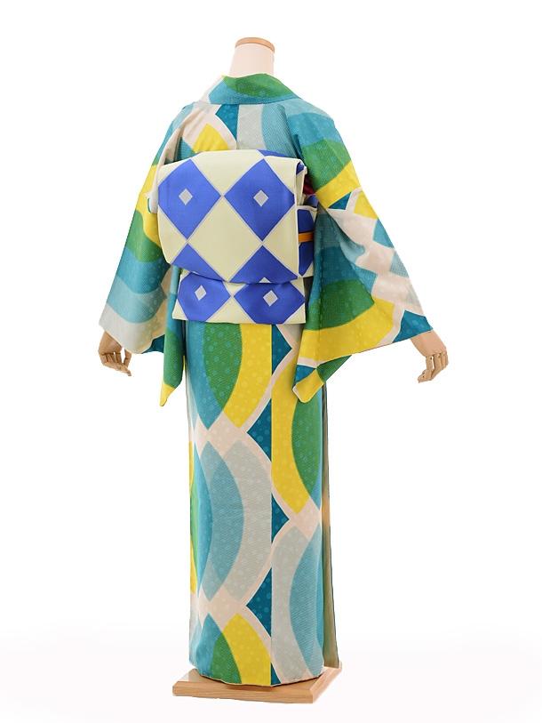 小紋604(化繊)モダンアンテナ 緑黄リーフ