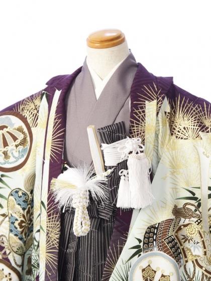 七五三(5歳男)5885 乙葉 紫×白 縞袴