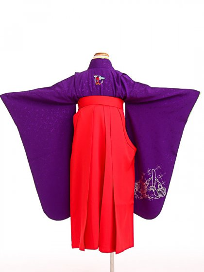 七五三(7歳女袴)女児袴sfts017紫ミッキー/赤無