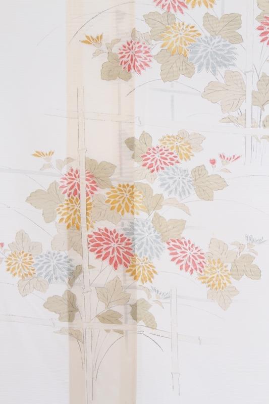 小紋(絽)1垣根に手書き花
