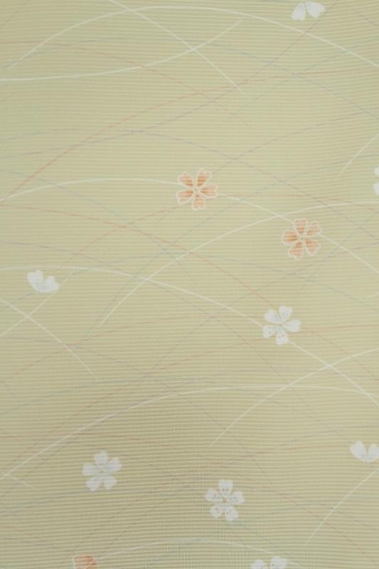 小紋(絽)6ひわ色に小花