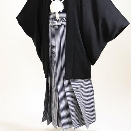 ジュニア黒紋付 縞袴 【小】