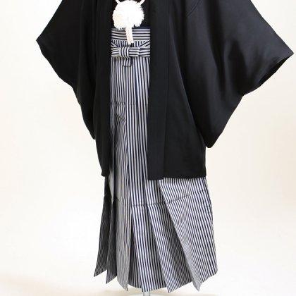 ジュニア黒紋付 正絹 縞袴 【大】