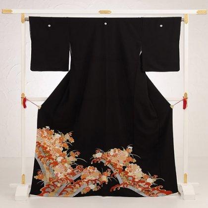 黒留袖4268波に菊