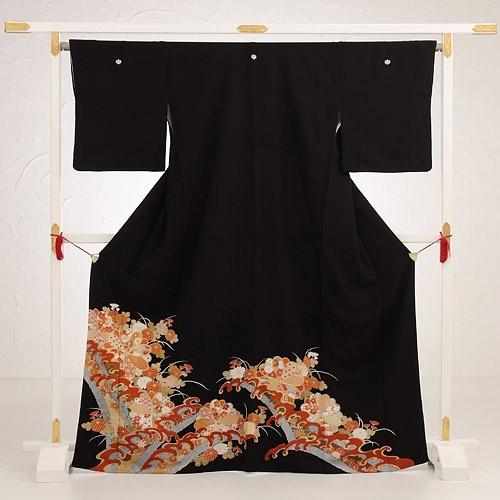 黒留袖レンタル4268波に菊