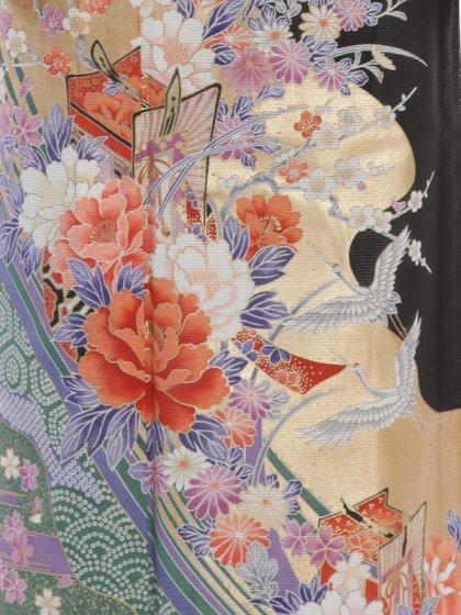 夏留袖4-79 鶴と花
