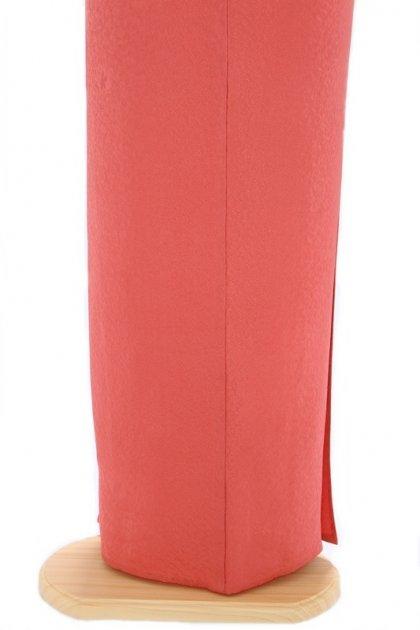 色無地(単衣)18ピンク オレンジ 唐草地紋に南天