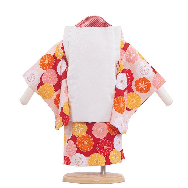 ベビー着物(女)315 オレンジ/花